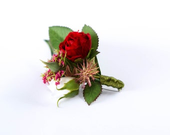 Boutonniere for Men, Rustic Wedding Boutonniere for Groom, Burgundy Flower Rose Boutonniere