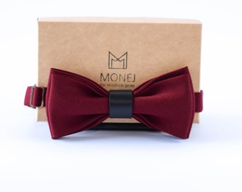Burgundy / Dark Red Bow Tie for Men and Boys, Boho Wedding Pre Tied Bow Tie for Groom / Groomsmen, Wool Bow Tie, Red Necktie, Gift for Him