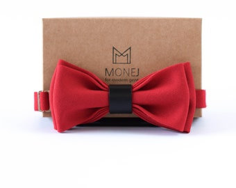 Red Bow Tie with Black Leather, Ready Tied Bow Tie, Wool Bow Tie, Wedding Bow Tie for Groom, Business Gift for Men, Birthday Gift for Him