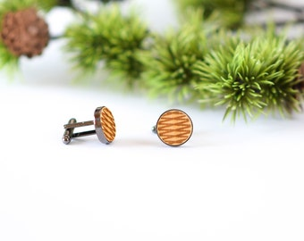 Wooden cufflinks, Engraved Wood Cufflinks, Wedding Cufflinks for Groom Groomsmen, Gift for Men Him
