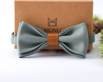Mint Grey Bow Tie for Men, Wool and Leather Bow Tie, Pre Tied Bow Tie, Grey Wedding Necktie for Groom / Groomsmen, Gift for Men