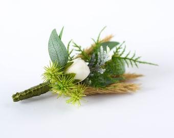 Dried Flower Boutonniere for Men, Boho Wedding Boutonniere for Groom,Groomsmen, White Rose Boutonniere