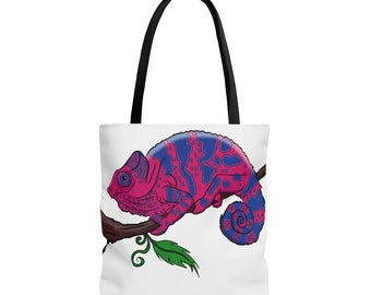 Image in ANY COLOR Selection of sizes available Chameleon Skeleton Vintage Illustration Canvas Tote