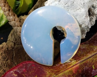 Pair Opalite Stone Lightweight Small Double Sided Rounded Asymmetrical Circular Keyhole Dangling Ear Weights Gauges Hangers 10mm (00G) & Up