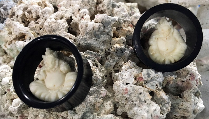 Black Horn Flesh Tunnel Plugs w Carved Bone Ganesha Inlay Pair 14mm 916 16mm 58 19mm 1316 22mm 78 25mm 1