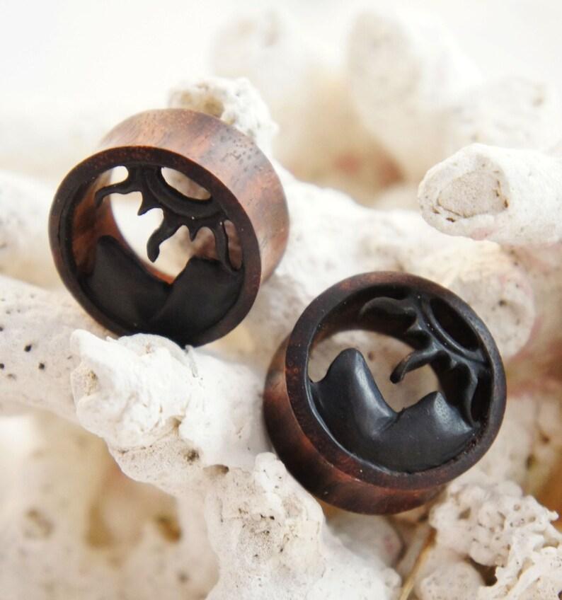 12mm Pair Dark Sono Wood Mountains Sun Tunnels Plugs Earrings 10mm 12 18mm 1116 14mm 00G 58 916 16mm 20mm 1316 25mm 1