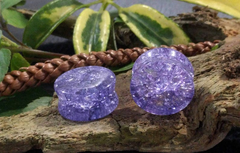 14mm 12mm 16mm 20mm 25mm 18mm 12 58 6mm 8mm 00G Shattered Purple Glass Double Flared Plugs Pair 0G 1 10mm 916 1116