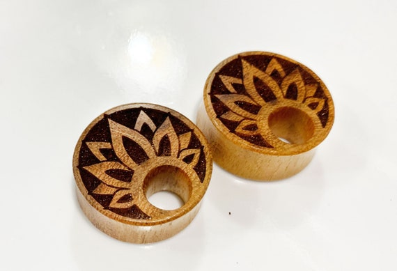 Pair of Jackfruit Wood Sunflower Plugs