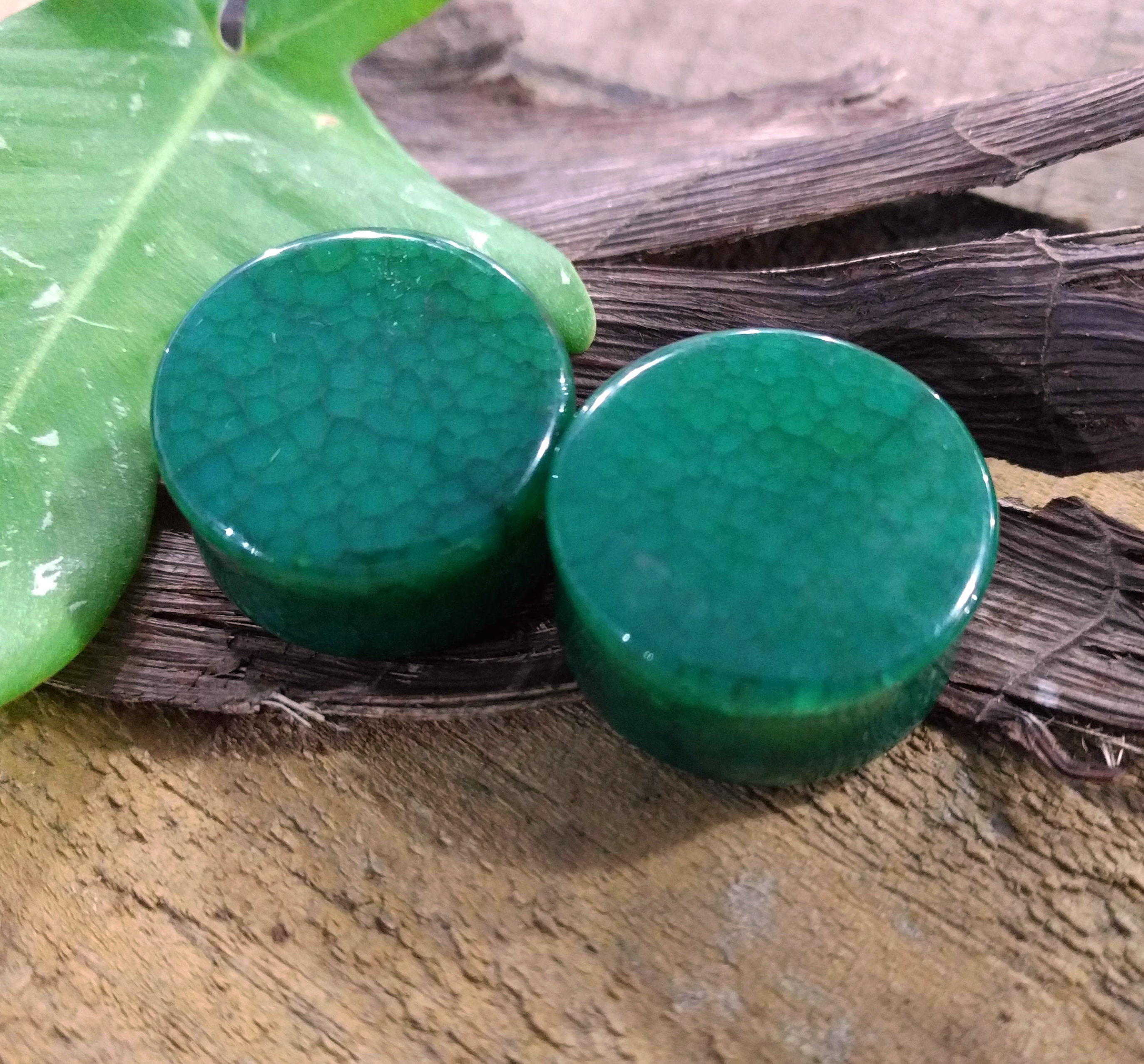 Green Marble Stripe Double Flared Ear PlugsSold as Pairs