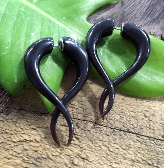 Pair Handmade Black Horn Tribal Spike Curl Spiral Hanger Ear Gauge Plugs 8G-00G