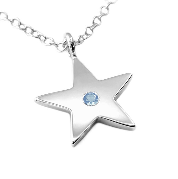 Circle Silver Star Necklace Sky Blue Topaz Sterling Silver