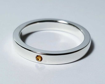 Thin Citrine Band in Sterling Silver - Citrine Band, Citrine Ring, Sterling Silver Wedding Band, Citrine Wedding Band, Citrine wedding Ring