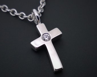 Sterling Silver Diamond Cross Necklace Pendant- Sterling Silver Cross Diamonds, Sterling Silver Cross Necklace, Diamond Cross Pendant, Cross