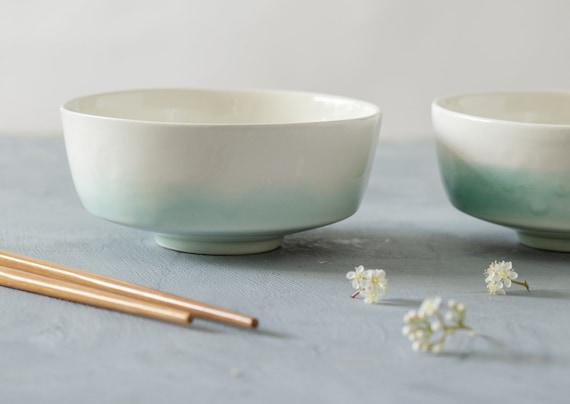 Couple Gift Idea Salad Bowl Soup Bowl Black /& Turquoise Bowl Nesting Bowl Ceramic Serving Bowls Set Of 2 Modern Pottery Serving Dish
