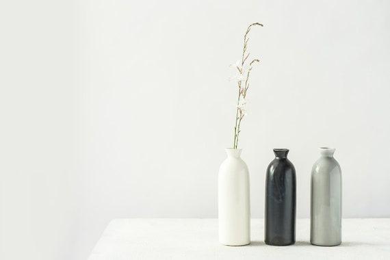 3 Modern Pottery Vase Bottles Set Contemporary Vases Etsy