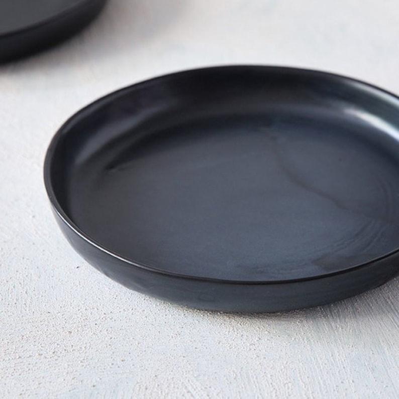 Wedding Gift Ceramic Plate Dinner Plate Dinnerware Set Of 2 Pottery Serving Plate Kitchen Tableware Set Modern Black Set Noodles Bowl
