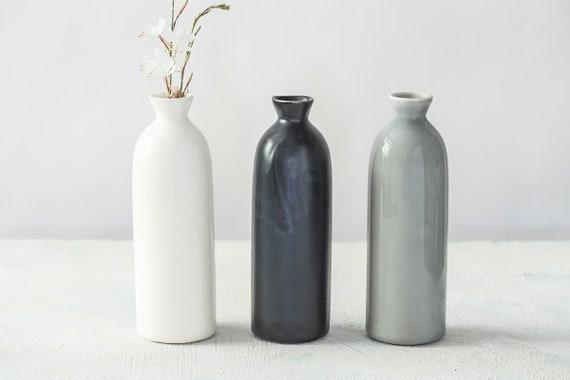 Black Bottle Minimalist Flower Vase Gray Ceramic Vase Etsy