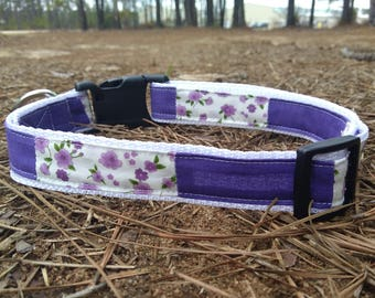 Handcrafted Purple and White Floral Dog Collar