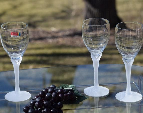 Vintage Crystal Wine Glasses, Set of 3, FOSTORIA Lotus Crystal Mist, circa 1980, Wine Wedding Gifts, Vintage Satin Wine Glasses