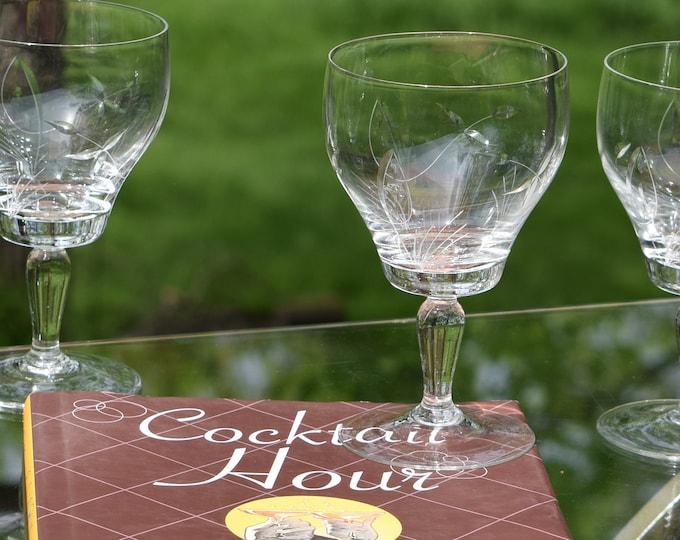 5 Vintage Etched CRYSTAL Wine Glasses, Set of 5,  Unique Vintage Cocktail Glasses, Mixologist Craft Cocktail glasses, Cocktail Party Glasses
