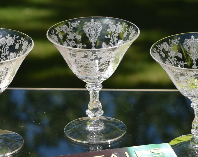 4 Vintage Acid Etched Cocktail Martini Glasses, Cambridge, Rose Point, circa 1934, Wedding Champagne Toasting Glasses