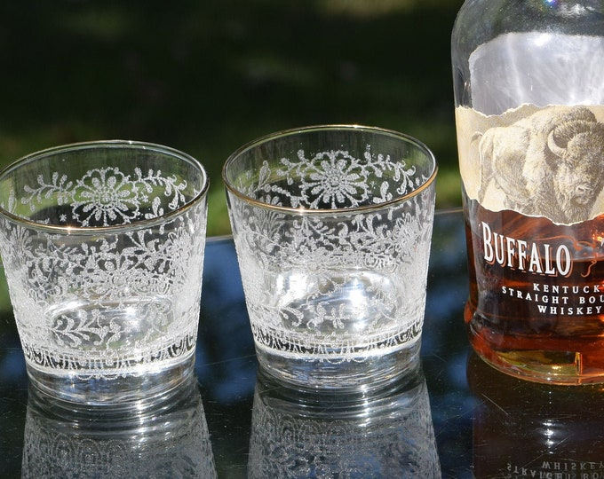 4 Vintage Whiskey Bourbon Glasses,  Libbey, circa 1970's,  Vintage Lowball ~ Rocks Glasses, On The Rocks glasses, Cocktail Glasses