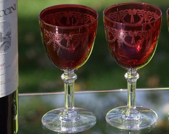 Vintage Acid Etched Red Crystal Wine Glasses, Set of 6, Vintage Etched Small Cocktail Glasses, Wine Tasting Party glasses