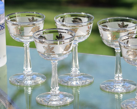 Vintage Silver Rimmed Wine ~ Liquor Glasses,  Set of 6,  After Dinner Drink 4 oz Glasses, Vintage Small Cocktail glasses, Port Wine Glasses