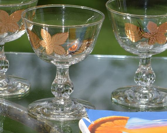 Vintage Gold Cocktail Glasses, Set of 6, Vintage Gold Leaf Design Cocktail Glasses, Champagne Glasses, Wine Glasses