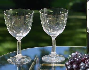 Vintage CRYSTAL Etched Wine Glasses, Vintage FOSTORIA, circa 1950,  Set of 4, Wedding Toasting Glasses, Bar Cart Accessories Decor