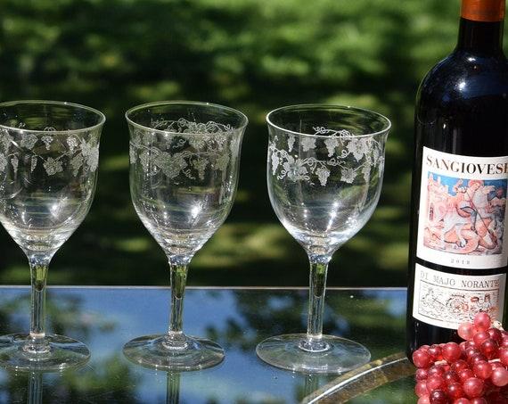 Vintage Acid Etched Wine Glasses, Set of 5, circa 1940's, Antique Wine Glasses, Elegant Wine Glasses, Vintage Etched Water Goblets
