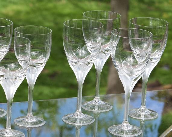 "Vintage CRYSTAL Wine Glasses, Set of 4, Rosenthal, Iris ~ Satin Stem, Vintage Crystal White Wine, 8"" Tall, Crystal Wedding Champagne Glasses"