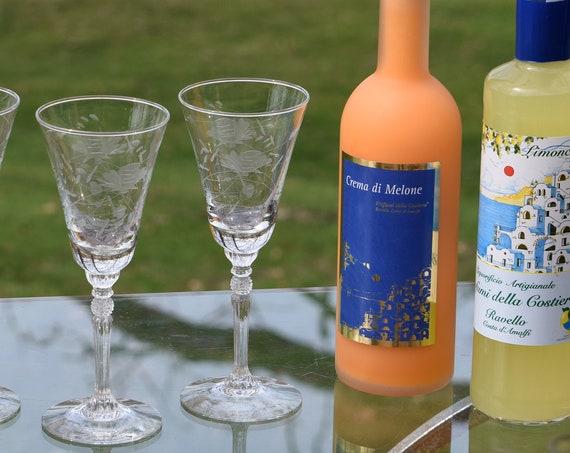 Vintage Etched Tall Wine Glasses, Floral Etched Optic Glass, Set of 4, Vintage 5 oz Wine Glasses, Dessert or Port Wine Glasses, Claret Glass