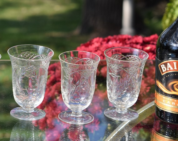 Vintage Etched Wine ~ Liquor glasses, Set of 5, Vintage After Dinner Drink 5 oz Liquor ~ Port ~ Dessert Wines