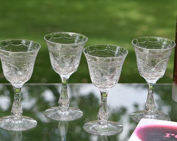 Vintage CRYSTAL Etched Bubble Stem Wine Glasses, Set of 4, Seneca, Cut 870, circa 1930's,  Antique Crystal 4 oz Claret ~ Port Wine Glasses
