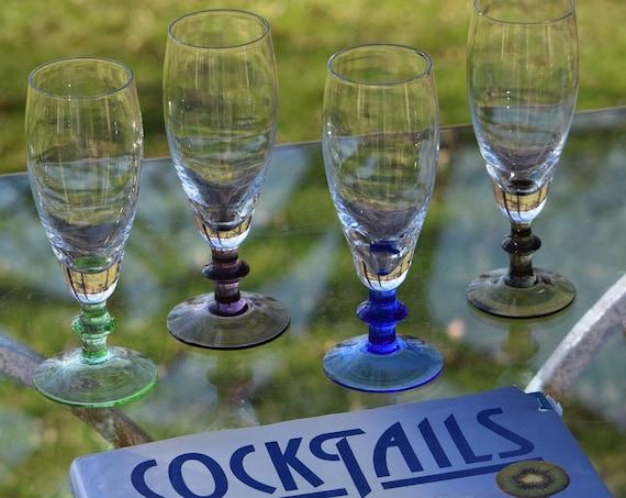 Vintage Wine - Cocktail Glasses, Set of 7, Vintage Multi Colored Champagne glasses, 6 oz Wine glasses, Champagne Flutes