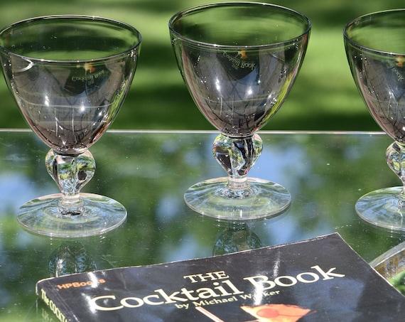 Vintage Gray Cocktail - Wine Glasses Set of 7, Cambridge, Allegro Smoke, Circa 1956-1957, Vintage Smoke Grey Water Goblets - Wine glasses