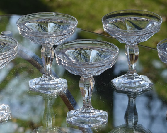 Antique Cocktail Coupes ~ Glasses, Set of 5, Heisey, circa 1905, Vintage Champagne Coupes, Antique Pressed Glass Champagne glasses