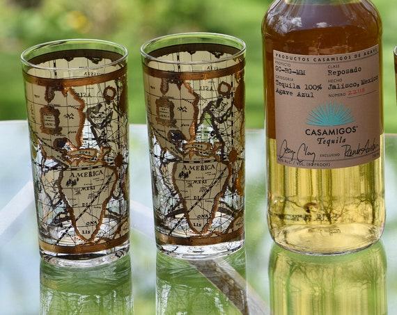 Vintage Cocktail ~ Whiskey Highball Glasses, Set of 5, Cera, Old World, 1950's, Whiskey, Bourbon, Scotch glasses, Mid Century Barware,