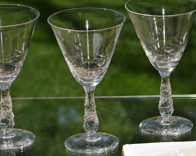 4 Vintage Etched CRYSTAL Wine - Cocktail Glasses, Set of 4, CRYSTAL Art Deco Cocktail - Wine Glasses, Cocktail Party Glasses