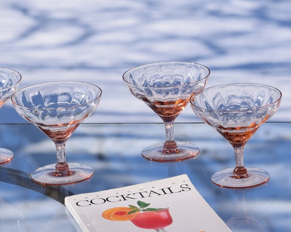 Vintage Pink Optic Champagne Coupe - Cocktail Martini Glasses, Set of 6, Vintage Cocktail Glasses, Pink Vaseline Depression Optic Glass