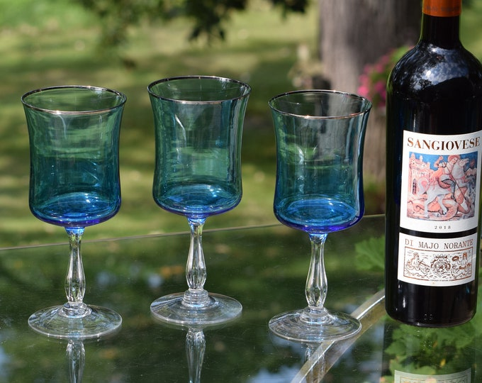4 Vintage Blue Wine glasses, Set of 4, Vintage NORITAKE, Rainbow Blue, Water Goblets, circa 1970's, Vintage Platinum Rim Wine Glass