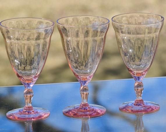 Vintage PINK Optic Glass Wine Glasses, Set of 5, Vintage Pink Depression Cocktail Glasses, Elegant Pink Wine Glasses