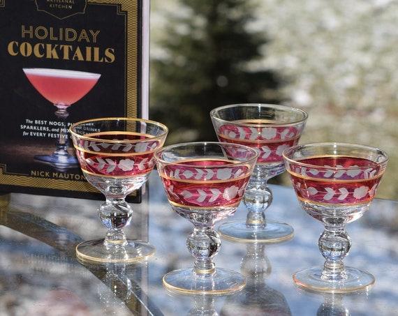 Vintage Gold and Red Etched Wine Cordial After Dinner Drink Glasses, Set of 5,  3 oz Liquor - Wine Glasses,  Vintage Small Cocktail Glasses
