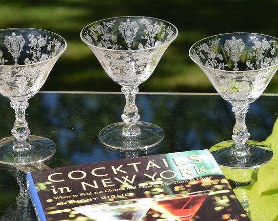 Vintage Acid Etched Crystal Cocktail Martini Glasses, Set of 4, Cambridge, Rose Point, circa 1934, Mixologist Craft Cocktail Martini Glasses