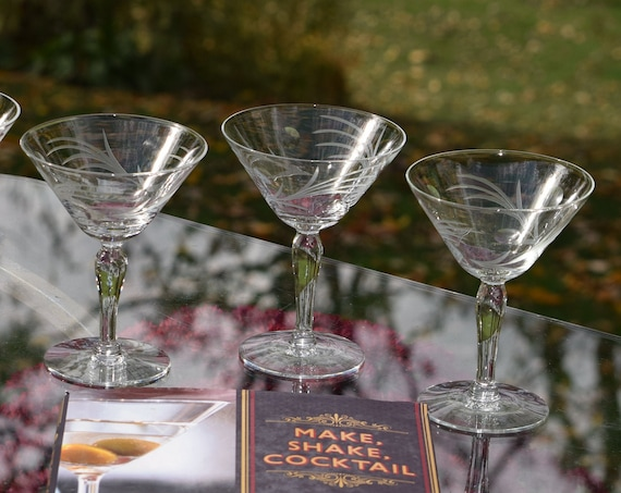 Vintage Etched Cocktail Martini Glasses, Set of 5, 1950's, Vintage Etched Champagne Glasses, Craft Cocktail Glasses - Manhattan Glasses