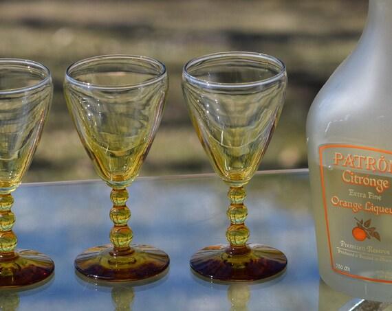 Vintage Wine Cordials, Set of 4, Libbey, Knobhill Amber, 4 oz Vintage Round Balled Stem Liquor glasses, Wine Tasting Party glasses