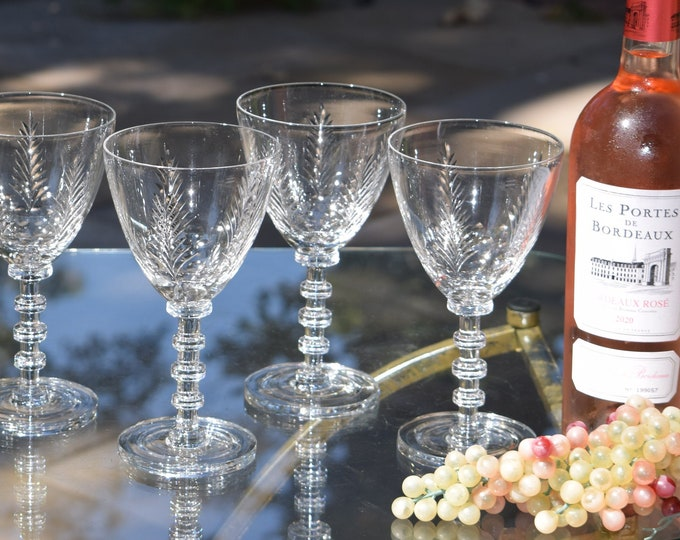 6 Vintage Etched Crystal Wine Glasses, Cambridge, The Pines, 1930's,  Vintage Water Goblets ~ Champagne Cocktail Glasses