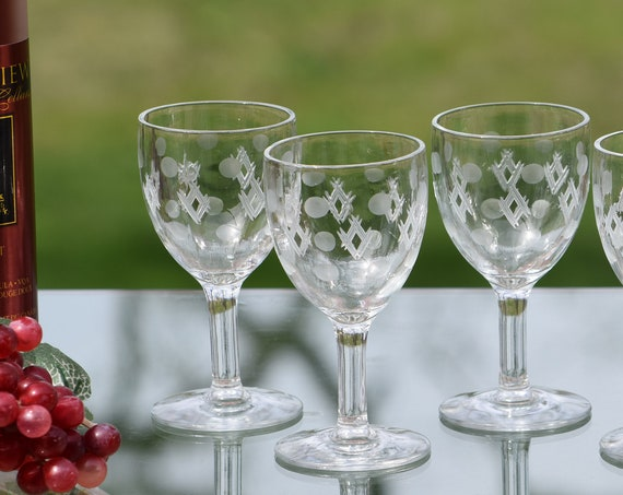 Vintage Wine ~ Liquor CORDIAL Glasses, Set of 5, Pressed Glass and Etched 3 oz After Dinner Drink Glasses, Port Wine, Dessert Wine Glasses