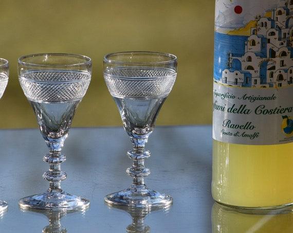Vintage CRYSTAL Cut Wine Cordials - Glasses, Set of 4, circa 1960's, After Dinner Drink Cordials, 2.5 oz Port Wine Liquor glasses